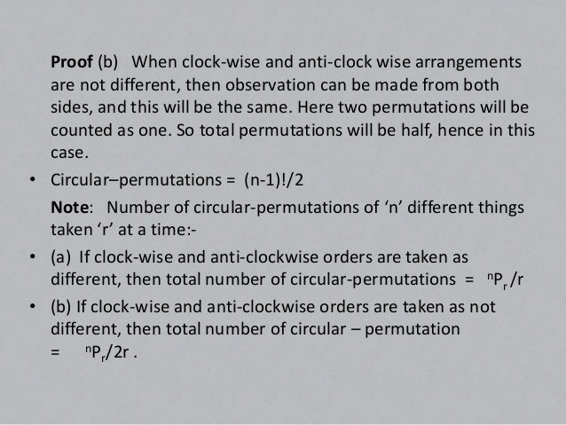 • Example: How many necklace of 12 beads  each can be made from 18 beads of different  colours?• Ans. Here clock-wise and ...