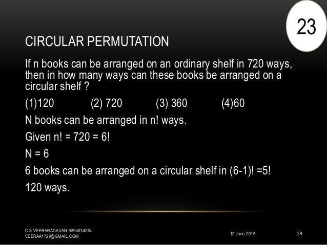 CIRCULAR PERMUTATION 12 June 2015 C.S.VEERARAGAVAN 9894834264 VEERAA1729@GMAIL.COM 29 If n books can be arranged on an ord...