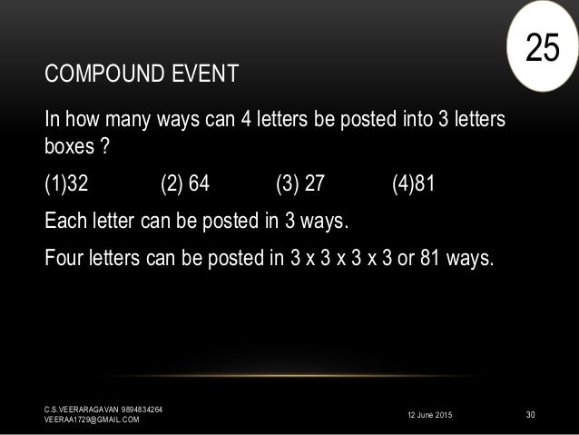 COMPOUND EVENT 12 June 2015 C.S.VEERARAGAVAN 9894834264 VEERAA1729@GMAIL.COM 30 In how many ways can 4 letters be posted i...