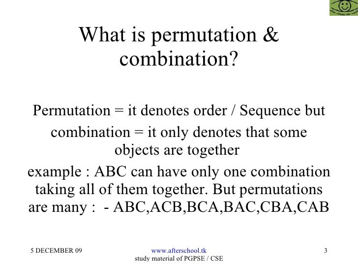 permutations and combinations