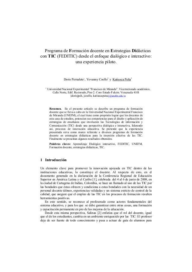 Programa de Formación docente en Estrategias Didácticas con TIC (FEDITIC) desde el enfoque dialógico e interactivo: una ex...