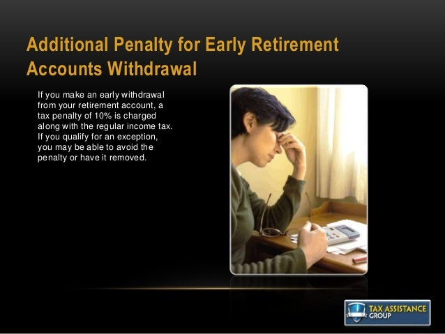 Additional Penalty for Early Retirement Accounts Withdrawal If you make an early withdrawal from your retirement account, ...