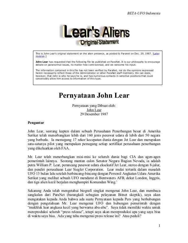 BETA-UFO Indonesia 1 Pernyataan John Lear Pernyataan yang Dibuat oleh: John Lear 29 Desember 1987 Pengantar John Lear, seo...