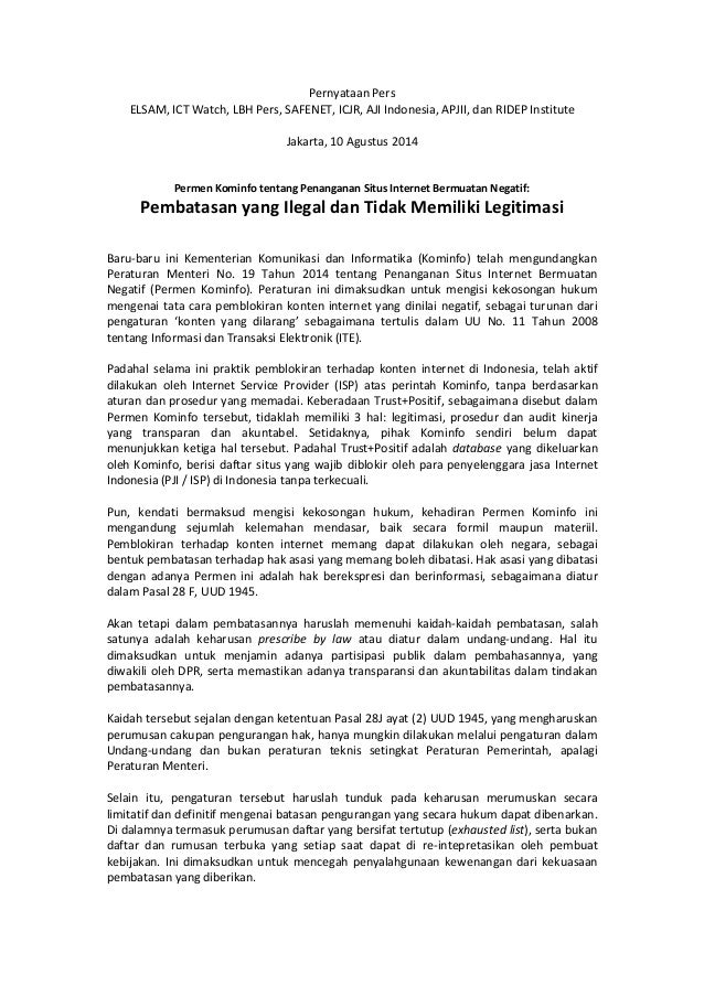 Pernyataan Pers ELSAM, ICT Watch, LBH Pers, SAFENET, ICJR, AJI Indonesia, APJII, dan RIDEP Institute Jakarta, 10 Agustus 2...