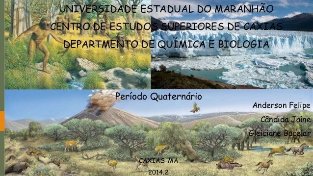 UNIVERSIDADE ESTADUAL DO MARANHÃO  CENTRO DE ESTUDOS SUPERIORES DE CAXIAS  DEPARTMENTO DE QUÍMICA E BIOLOGIA  Período Quat...