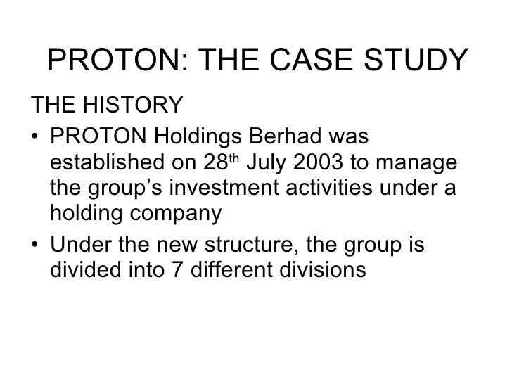 Investment analysis for proton holdings engineering essay