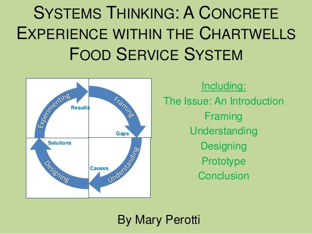 SYSTEMS THINKING: A CONCRETEEXPERIENCE WITHIN THE CHARTWELLS      FOOD SERVICE SYSTEM                                     ...