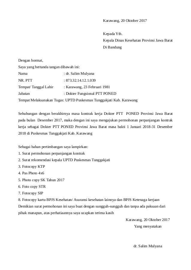 Contoh Surat Permohonan Perpanjangan Ptt Provinsi Jawa Barat