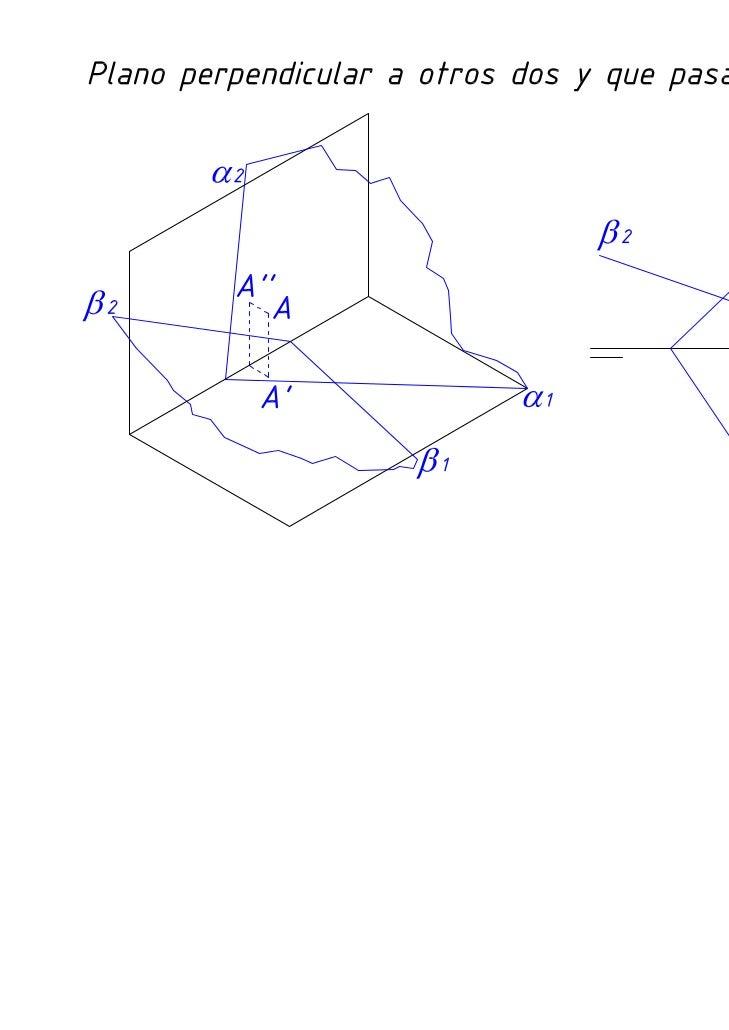 Diédrico: Perpendicularidad de un plano a otros dos