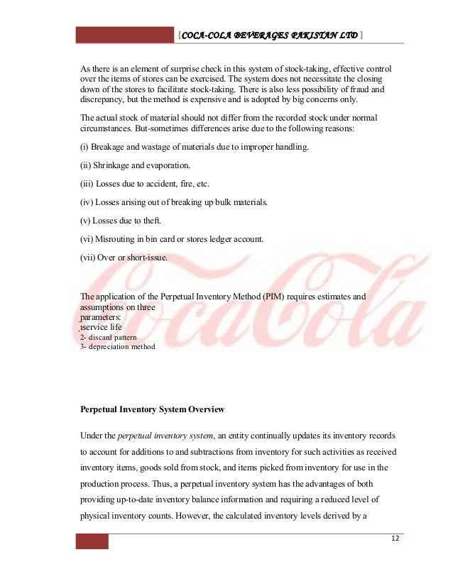 coca cola inventory systems summary View jannick christiaen's  coca-cola enterprises 2012  jannick then finds a way to turn that vision into a reality both in terms of systems and processes.