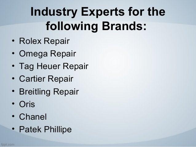 Industry Experts for the following Brands: • Rolex Repair • Omega Repair • Tag Heuer Repair • Cartier Repair • Breitling R...