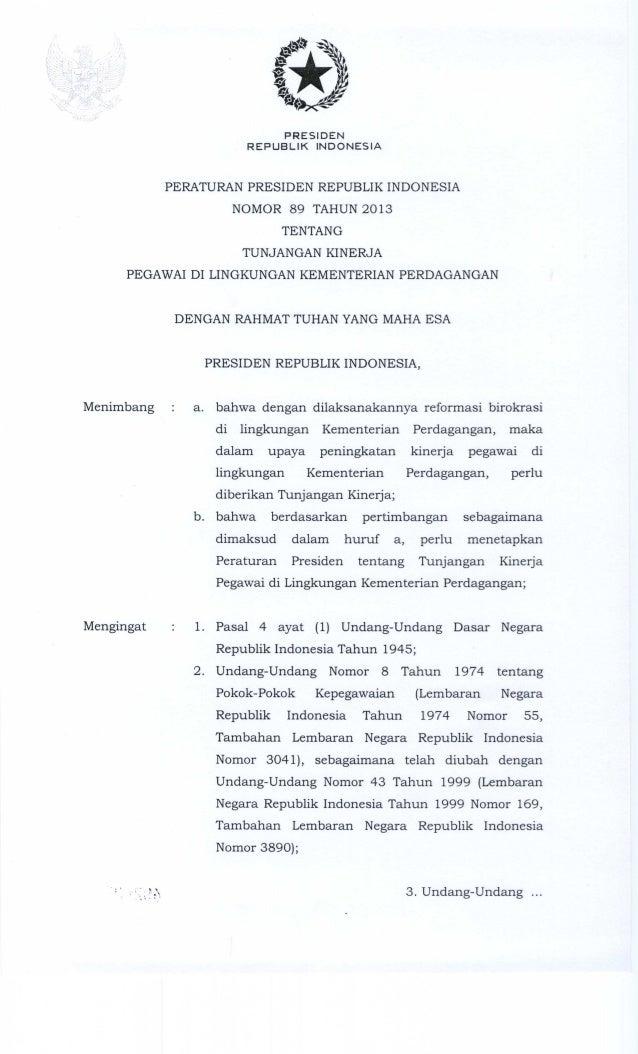 Perpres nomor 89 tahun 2013 tentang tunjangan kinerja kementerian perdagangan