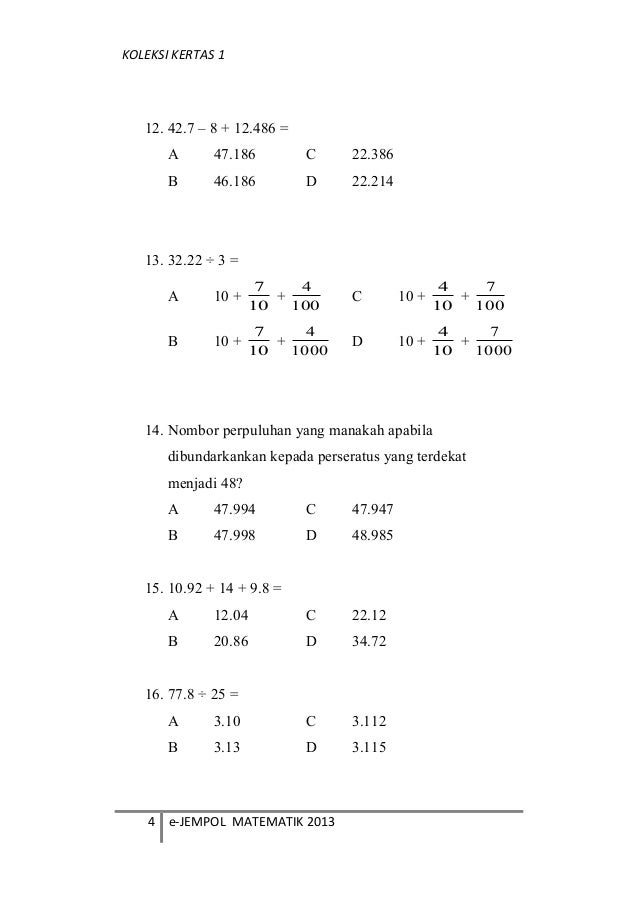 Soalan Matematik Tahun 5 Bundarkan Mewarnai W