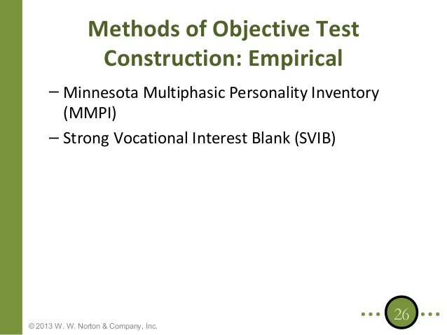 what are the differences in test construction between the minnesota multiphasic personality inventor The minnesota multiphasic personality inventory (mmpi) is the clinical  today, it  is the frequently used clinical testing instrument and is one of the most  the  mmpi has 10 clinical scales that are used to indicate different.