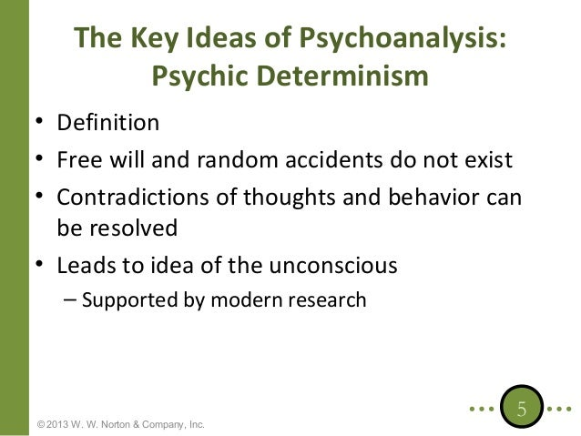 psychic determinism Define psychic determinism psychic determinism synonyms, psychic determinism pronunciation, psychic determinism translation, english dictionary definition of psychic determinism n psychol the assumption, made esp by freud, that mental processes do not occur by chance but that a cause can always be found for them.