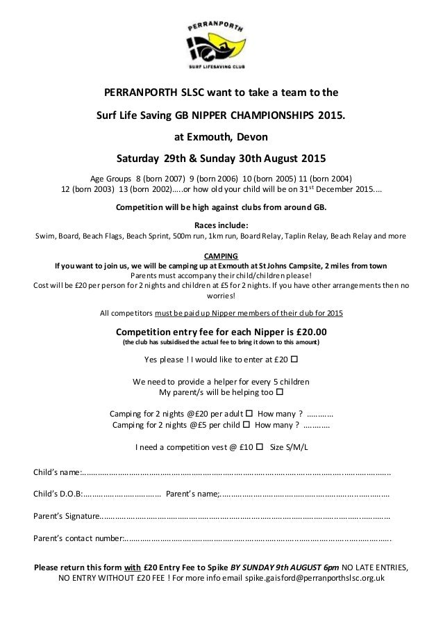 Perranporth slsc nationals ind entry form 2015