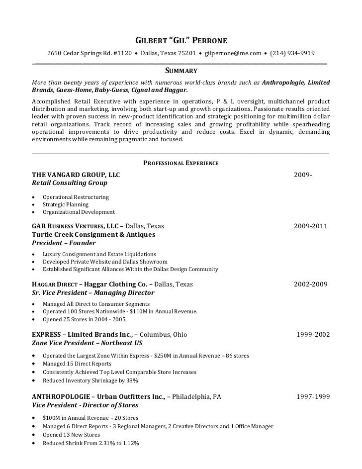 gilbert perrone resume retail executive