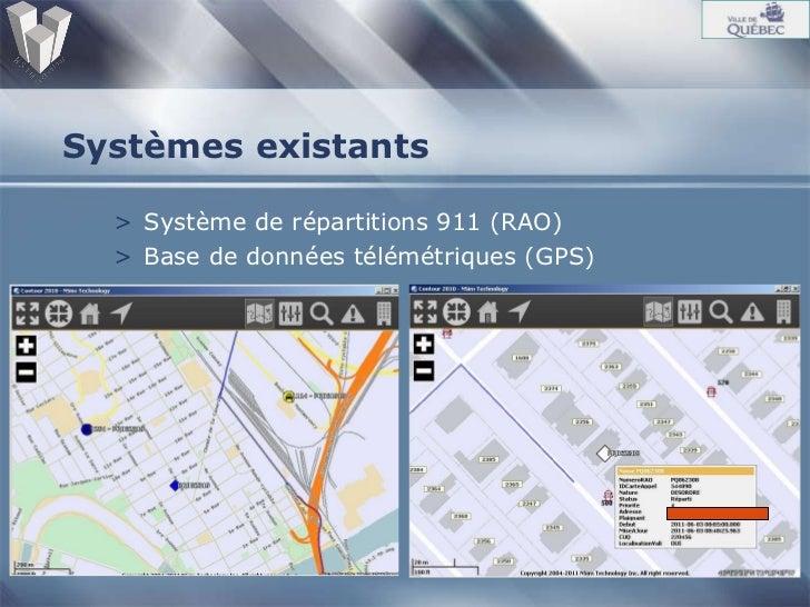 Systèmes existants <ul><li>Système de répartitions 911 (RAO) </li></ul><ul><li>Base de données télémétriques (GPS) </li></ul>