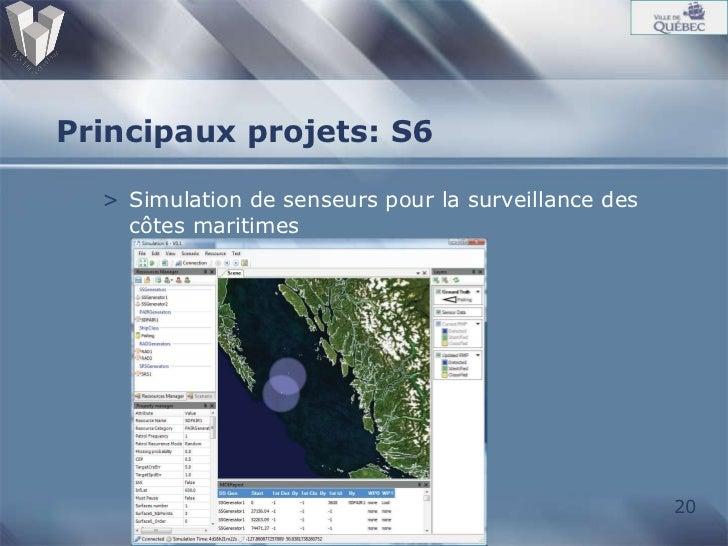 Principaux projets: S6 <ul><li>Simulation de senseurs pour la surveillance des côtes maritimes  </li></ul>