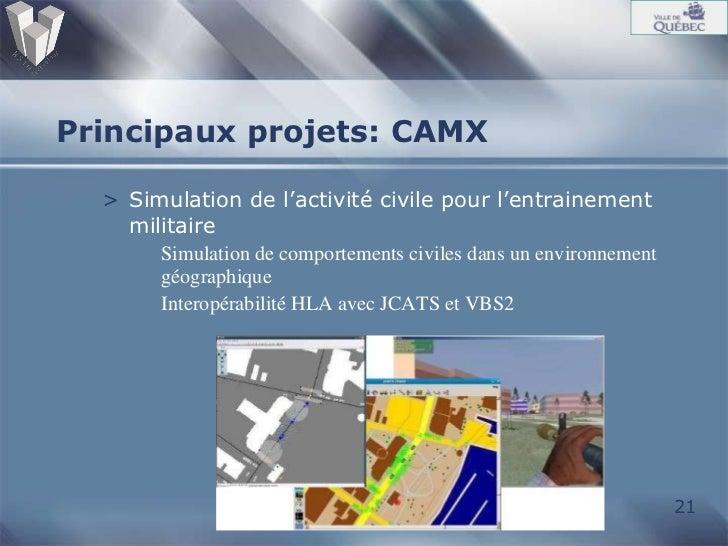 Principaux projets: CAMX <ul><li>Simulation de l'activité civile pour l'entrainement militaire </li></ul><ul><ul><li>Simul...