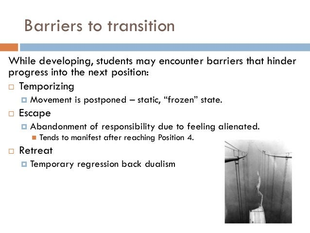 Barriers to transitionWhile developing, students may encounter barriers that hinderprogress into the next position: Tempo...
