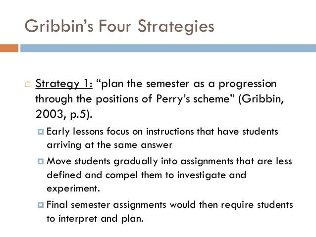 """Gribbin""""s Four Strategies   Strategy 1: """"plan the semester as a progression    through the positions of Perry""""s scheme"""" (..."""