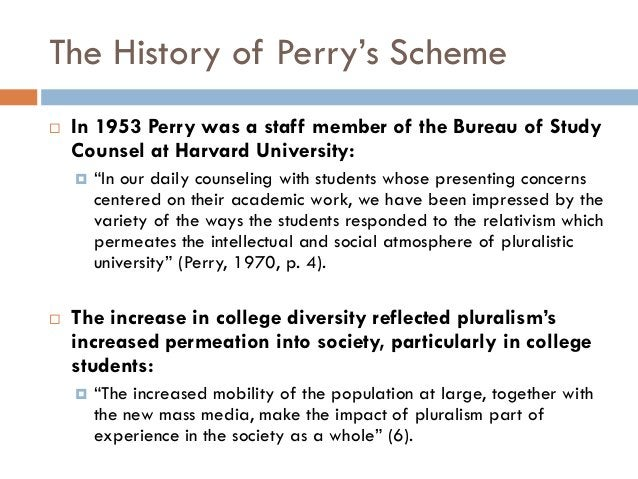 """The History of Perry""""s Scheme   In 1953 Perry was a staff member of the Bureau of Study    Counsel at Harvard University:..."""