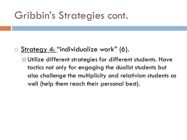 """Gribbin""""s Strategies cont.   Strategy 4: """"individualize work"""" (6).     Utilize different strategies for different studen..."""