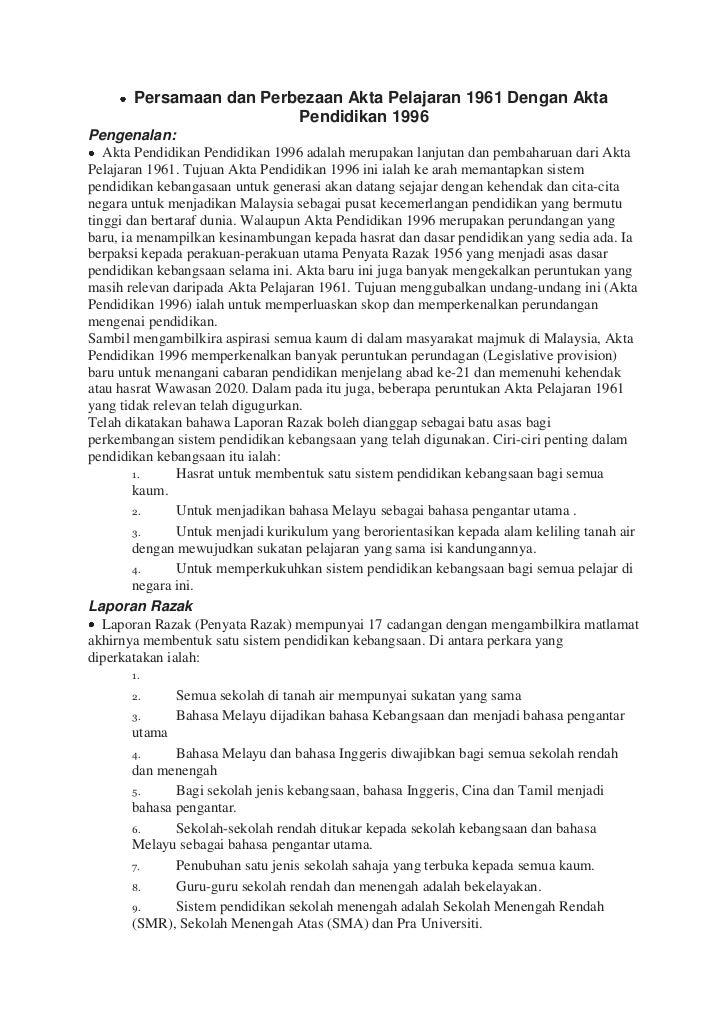Persamaan dan Perbezaan Akta Pelajaran 1961 Dengan Akta Pendidikan 1996<br />Pengenalan:<br />Akta Pendidikan Pendid...
