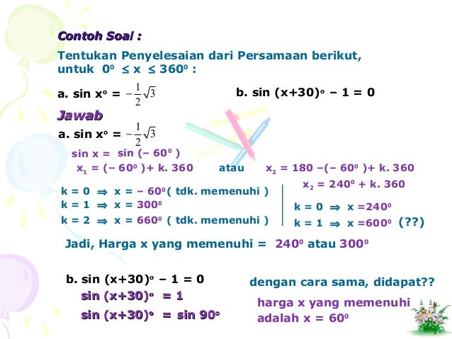 Ilmu Pengetahuan 10 Contoh Soal Persamaan Trigonometri Kelas 11 Dan Pembahasan