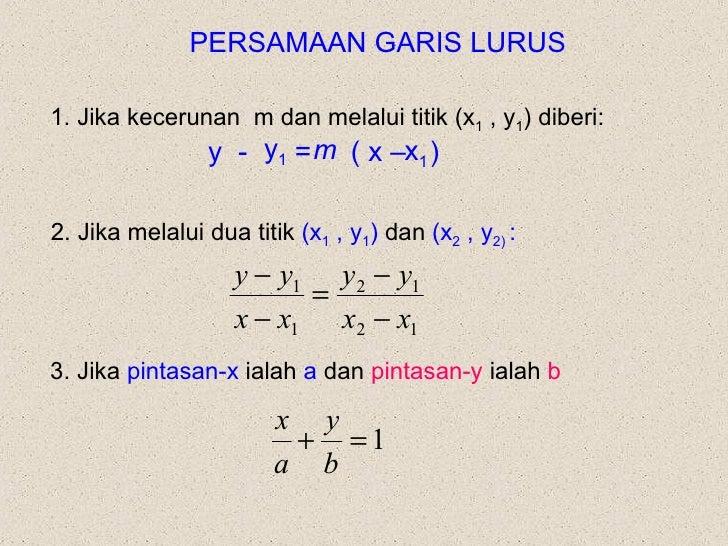 PERSAMAAN GARIS LURUS 1. Jika kecerunan  m dan melalui titik (x 1  , y 1 ) diberi: y  -  =  ( x –  ) m x 1 y 1   2. Jika m...