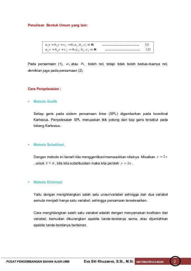 Persamaan linier Slide 2