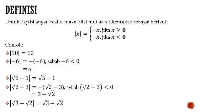 Persamaan dan Pertidaksamaan Nilai Mutlak Slide 3