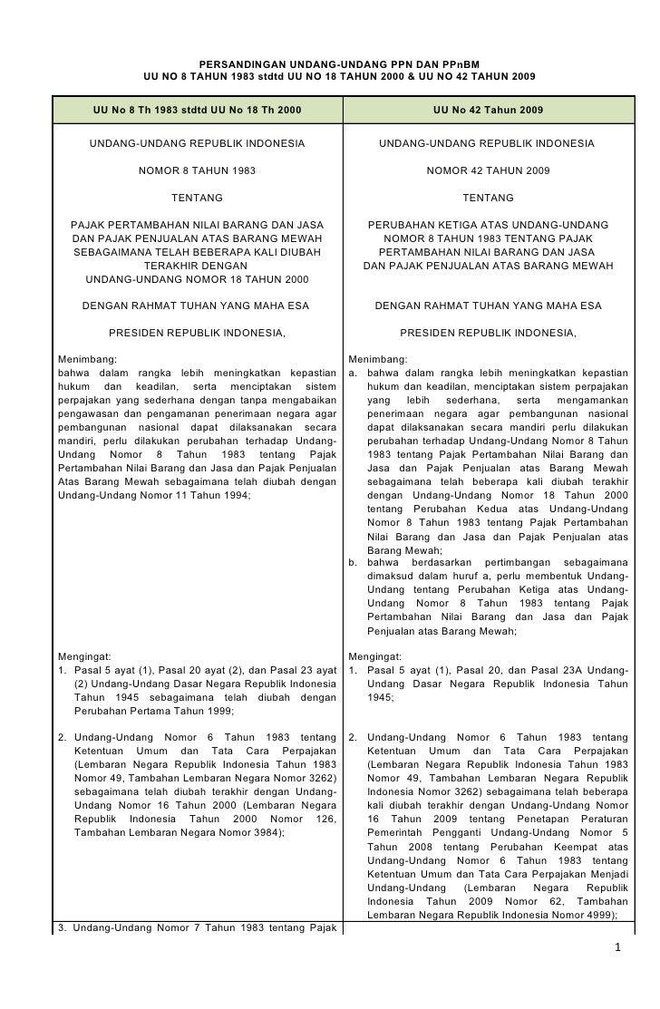 PERSANDINGAN UNDANG-UNDANG PPN DAN PPnBM                  UU NO 8 TAHUN 1983 stdtd UU NO 18 TAHUN 2000 & UU NO 42 TAHUN 20...