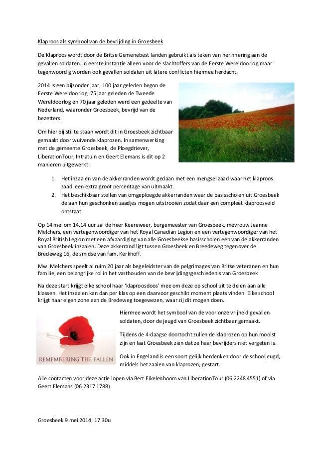 Groesbeek 9 mei 2014; 17.30u Klaproos als symbool van de bevrijding in Groesbeek De Klaproos wordt door de Britse Gemenebe...