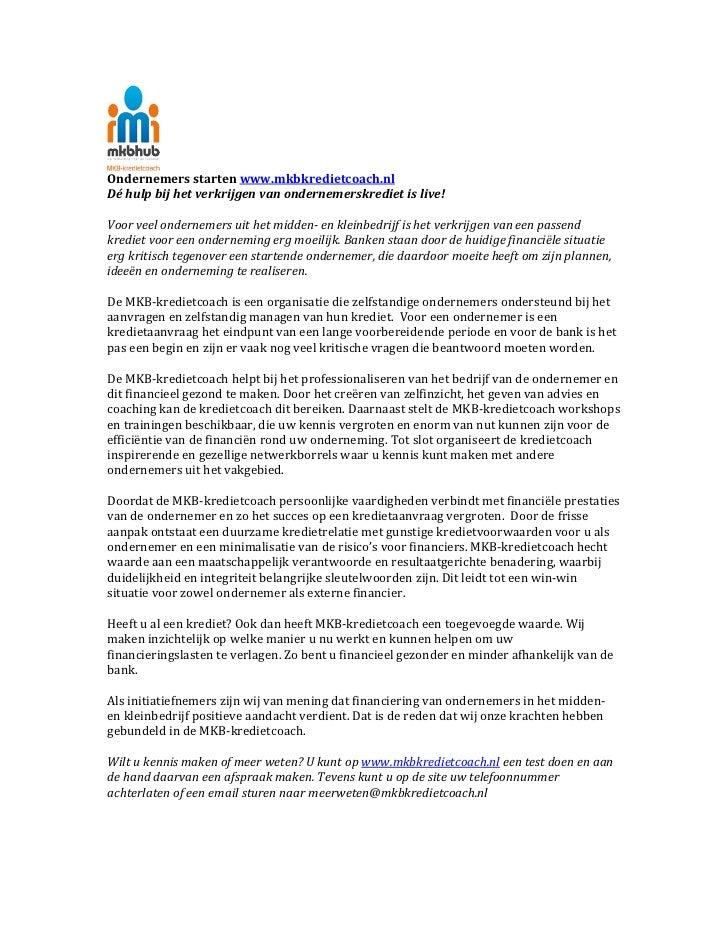 Ondernemers starten www.mkbkredietcoach.nl  Dé hulp bij het verkrijgen van ondernemerskrediet is ...