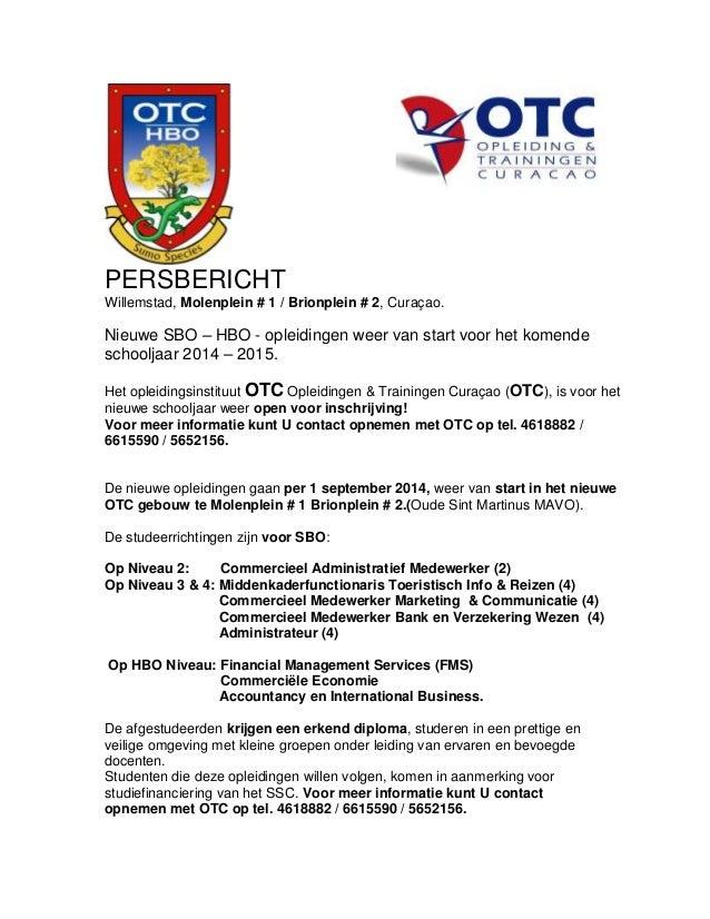 Persbericht nieuwe otc hbo opleiding van start for Opleiding hovenier hbo