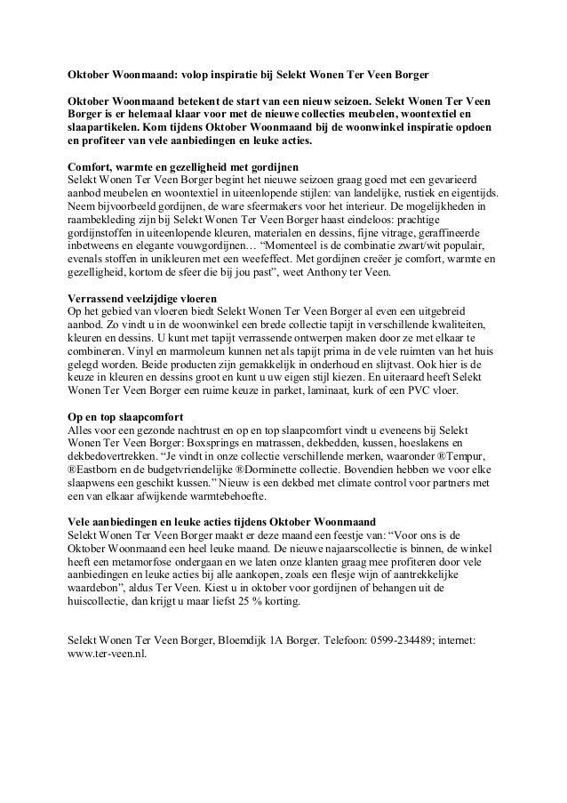 Oktober Woonmaand: volop inspiratie bij Selekt Wonen Ter Veen Borger  Oktober Woonmaand betekent de start van een nieuw se...