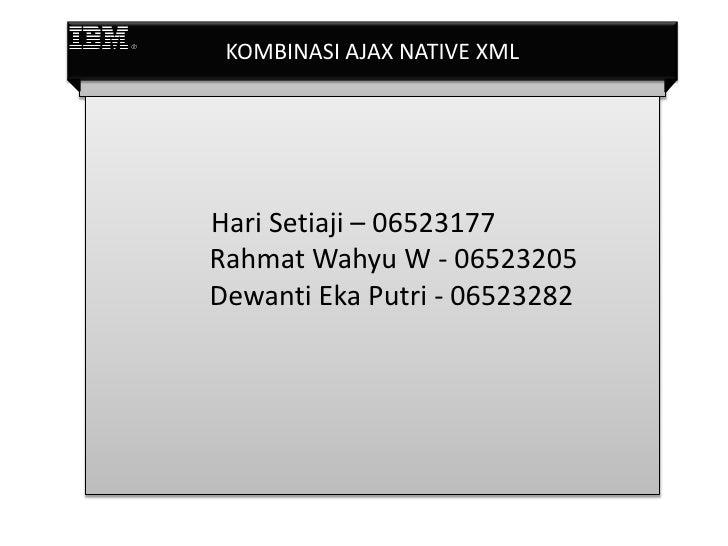 KOMBINASI AJAX NATIVE XML     Hari Setiaji – 06523177 Rahmat Wahyu W - 06523205 Dewanti Eka Putri - 06523282