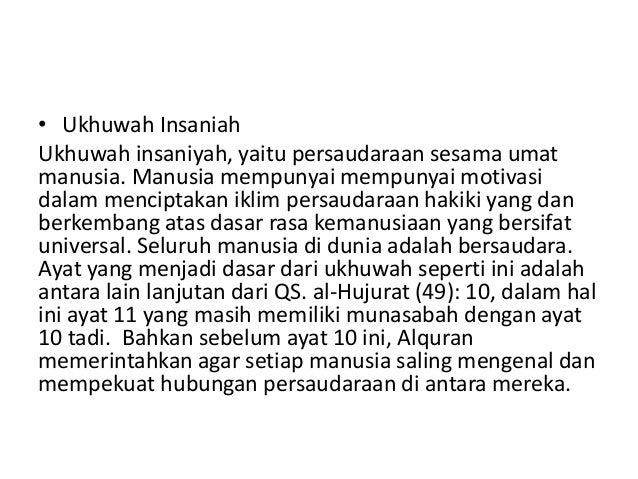 Persentasi ukhuwah dalam perfektif al quran hadist