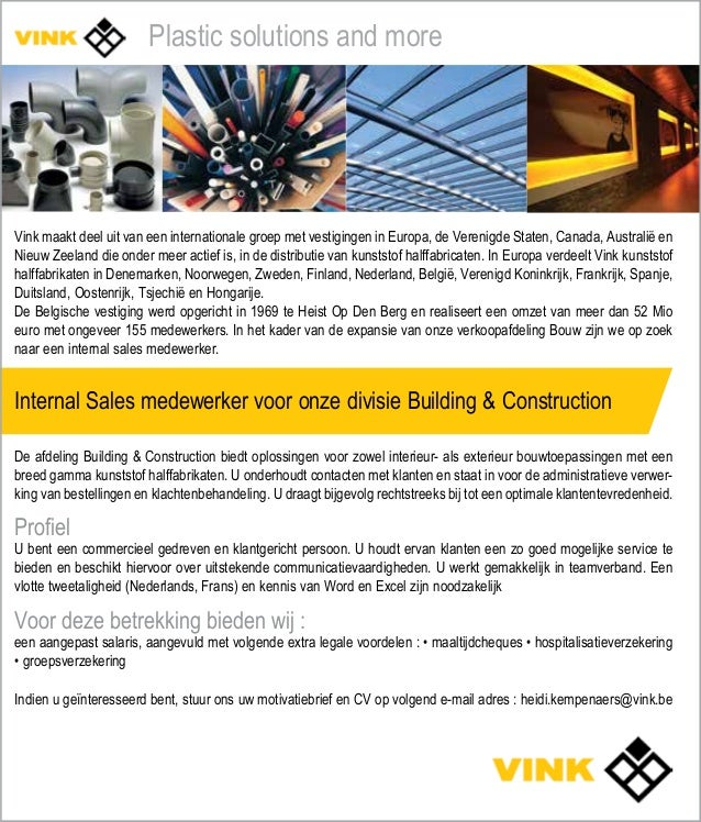 Vacature internal sales medewerker voor onze afdeling Building & Cons…