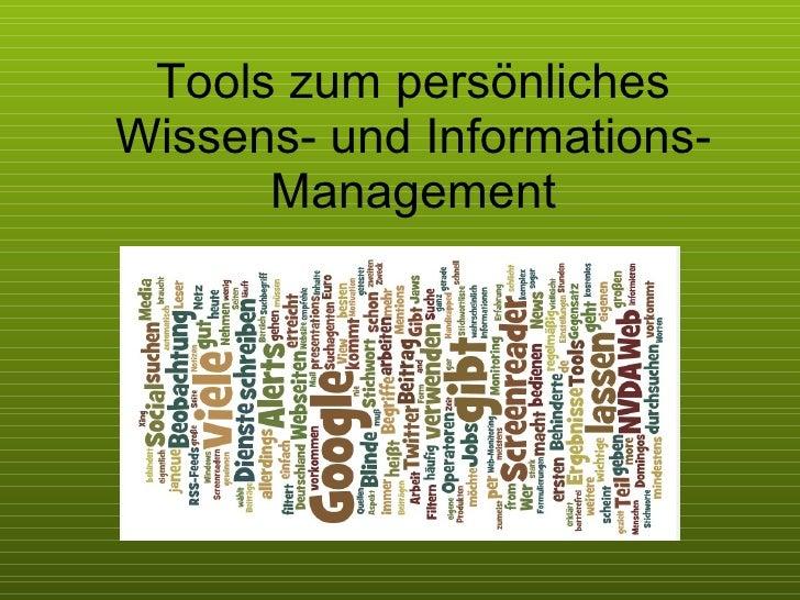 Tools zum persönliches Wissens- und Informations-Management