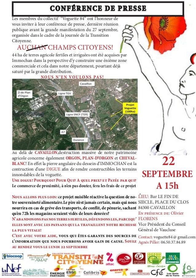 """22  SEPTEMBRE  A 15h  CONFÉRENCE DE PRESSE  Les membres du collectif """"Voguette 84"""" ont l'honneur de  vous inviter à leur c..."""