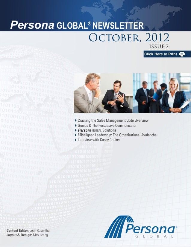 Persona GLOBAL® NEWSLETTER                                          October, 2012                                         ...