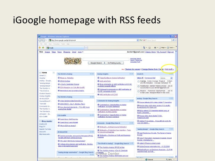 iGoogle homepage with RSS feeds                      © Mike Demler