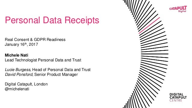 Personal Data Receipts Real Consent & GDPR Readiness January 16th, 2017 Michele Nati Lead Technologist Personal Data and T...