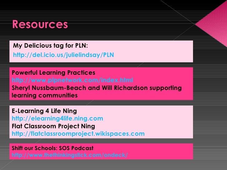 <ul><li>My Delicious tag for PLN: </li></ul><ul><li>http://del.icio.us/julielindsay/PLN   </li></ul>Powerful Learning Prac...
