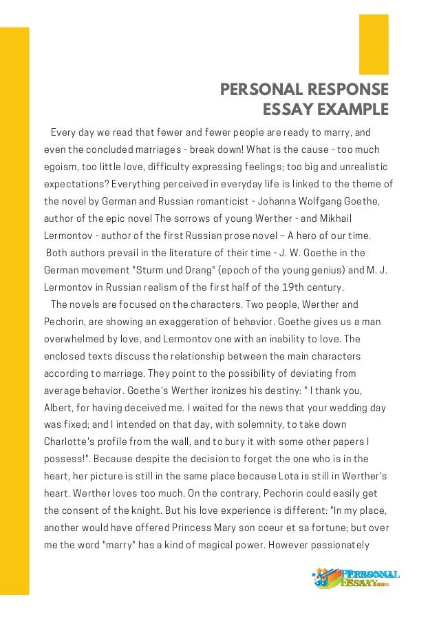 Personal Response Essay Autobiography Essay Narrative Essay Thesis Statement Examples Personal Response Essay Compare And Contrast Essay Examples High School also Important Of English Language Essay