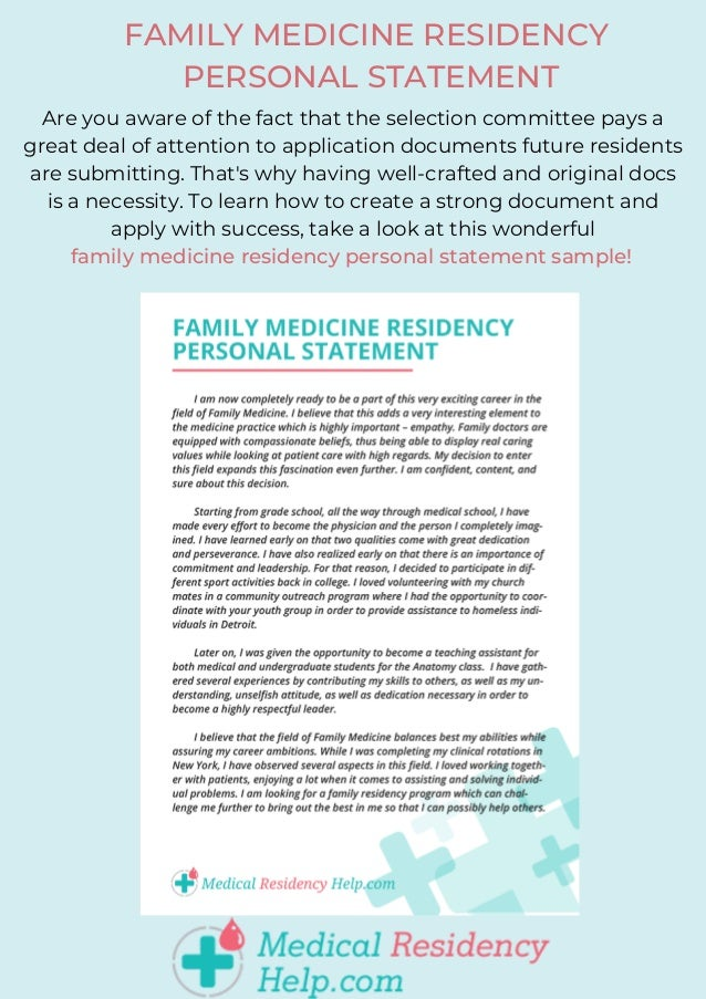 Personal statement examples residency