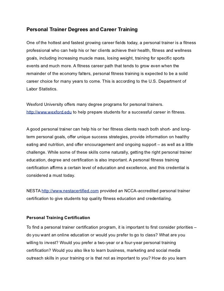 personal trainer degrees and career training